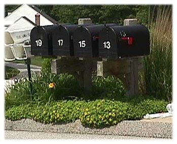 a picture of a group of rural mailboxes